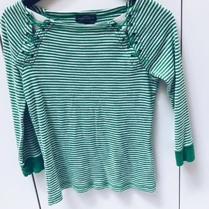 Green striped lace up top